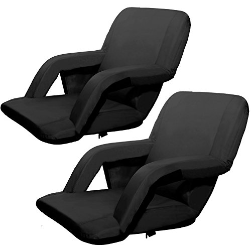 Victoria Young Portable Reclining Stadium Padded Seat, Set of 2, Black