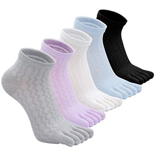 CaiDieNu Zehensocken Damen Fünf Finger Socken, Kurze Sport Socken mit zehen, Baumwoll Sneakersocken, Atmungsfähig, Laufende und lässig, 5 Paar