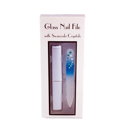 Swarovski Cristal Mini Lime à Ongles en verre avec étui rigide – Bleu arc-en-ciel