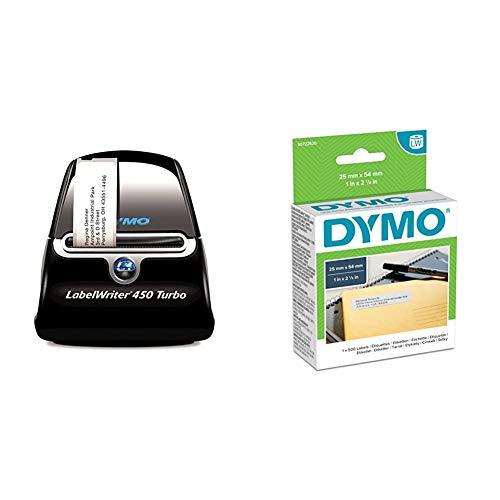 Dymo LabelWriter 450 Turbo Etikettendrucker & LW-Mehrzwecketiketten/-Rücksendeetikette selbstklebend (19mm x 51mm, Rolle mit 500leicht ablösbaren Etiketten, für LabelWriter-Beschriftungsgeräte)
