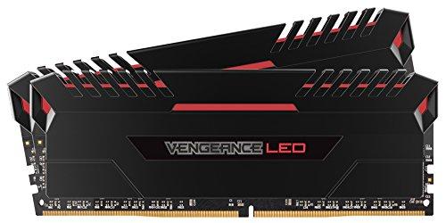 Corsair Vengeance LED Kit di Memoria Illuminato LED Entusiasta 16 GB (2x8 GB), DDR4 3200 MHz, C16 XMP 2.0, Nero con Illuminazione a LED Rosso
