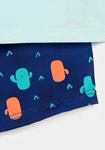 TEX - Conjunto Camiseta y Bóxer de Baño Unisex, Azul Ibiza, 36 Meses