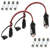 GTIWUNG 2PCS Mechero Conector 12V Macho a SAE para Mechero de Coche, 15A, 16 AWG, 30CM, con Cables de Conexión SAE, SAE Conectores de Batería con luz LED