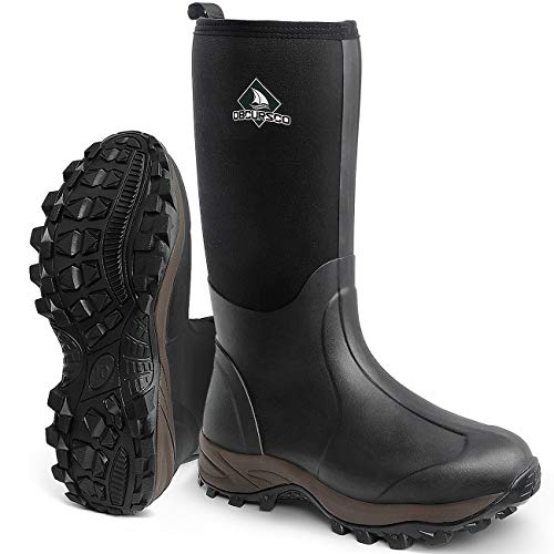 winter rubber boots Obcursco Waterproof 6mm Neoprene Rubber Boot for Men and Women Insulated Rain Boot for Outdoor Activity. Ideal for Farm Working, hunting and Fishing