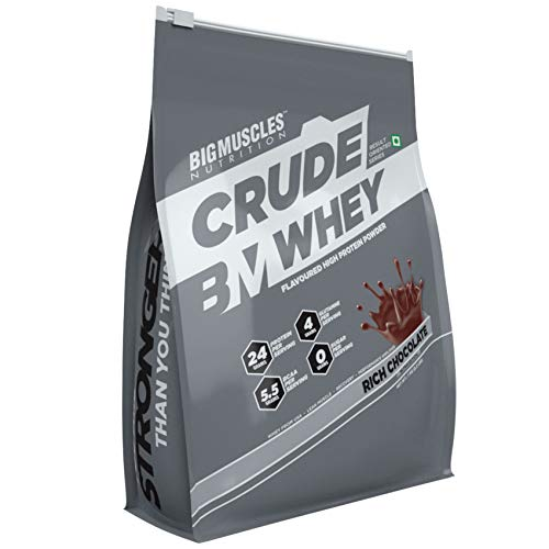Bigmuscles Nutrition Crude Whey - 1 kg (Rich Chocolate), Whey Protein Concentrate 80%, 24g Protein, 5.5g BCAA, 4 g Glutamine