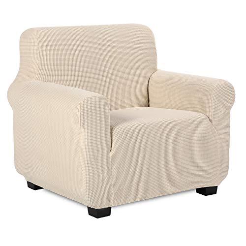 TIANSHU Funda de sillón,Material Jacquard poliéster Elastano Fundas de sofá Suaves Resistentes(Funda de sillón,Marfil)