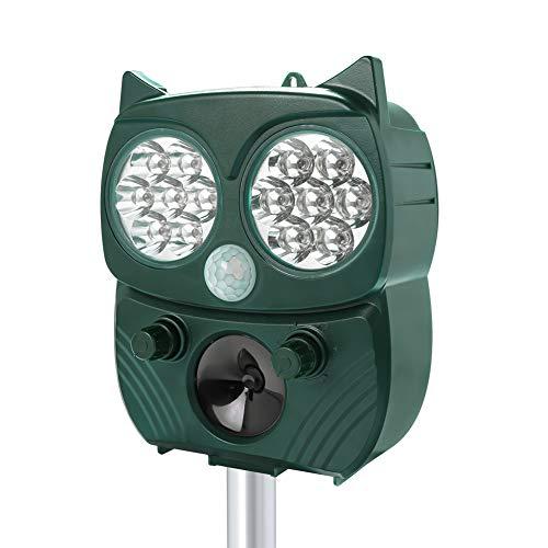 Repellente per Gatti Ultrasuoni Energia Solare per Gatti, Cani, Topi, Uccelli, Martora e Procioni, con Frequenza Regolabile e Luce LED lampeggiante