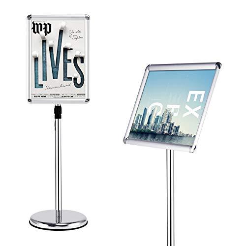 GOPLUS Infoständer Höhenverstellbar, Plakatständer Drehbar, Informationsständer DIN A3/A4, Präsentationsständer aus Aluminium, Präsentationsständer für Plakate, Silber (A3)