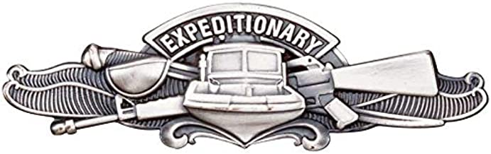 Medals of America Navy Expeditionary Warfare Specialist Badge Regulation Size Silver Oxide Finish