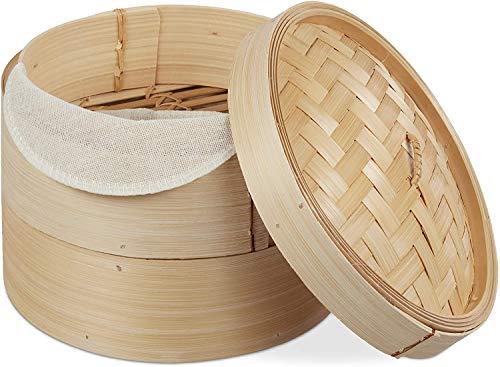 Relaxdays Bambus Dampfgarer, asiatischer Dämpfkorb mit 2 Etagen, für Dim Sum, Reis, Dampfgarer