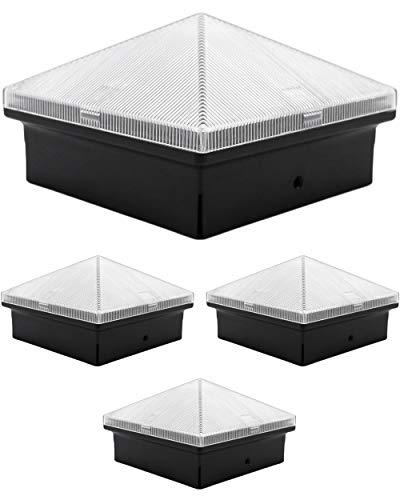 Davinci Lighting Pyramid Solar Outdoor Post Cap Lights - 4x4 5x5 6x6 - Bright LED Light for Fence Deck Garden or Patio Posts - Slate Black (4 Pack)