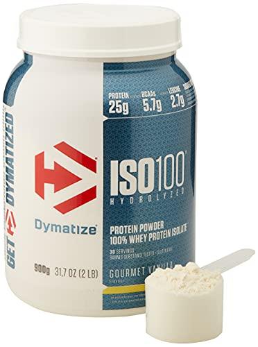 Dymatize ISO 100 Gourmet Vanilla 900g - Hidrolizado de Proteína de Suero Whey + Aislado en Polvo