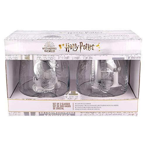 Harry Potter | Juego De Vasos De Agua- Vaso Set 2 Piezas De Cristal - Vaso Clásico Con Grabado Para Licores, Cócteles Y Zumo - 510 Ml