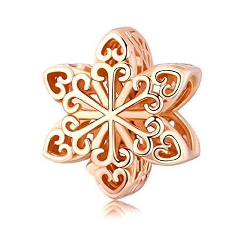 FeatherWish Charm-Anhänger in Schneeflockenform, 925er Sterlingsilber, für Pandora-Armband oder -Halskette