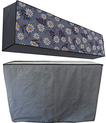 Stylista ac Cover Set of Indoor and Outdoor Unit for 1 ton Capacity Floral Pattern Blueish Grey