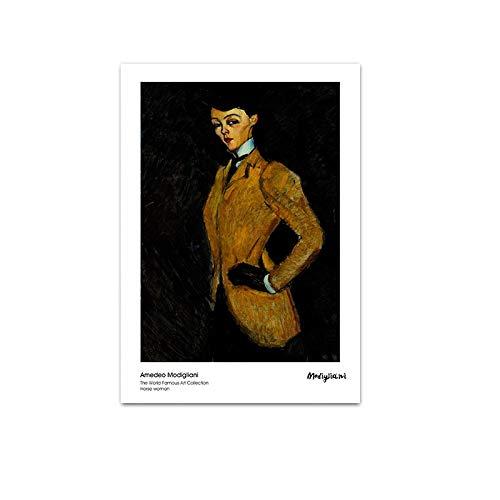 Rahmenlos Amedeo Modigliani Kunstfigur Abstrakte Malerei Vintage Leinwand Poster Wandkunst Druck Dekoratives Bild Moderne Wohnkultur40x60cm