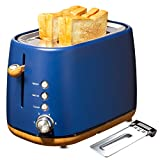 Kichele Toaster 2 Slice Wide Slot with Removable Crumb Tray,6 Browning Shade Settings,Reheat,Defrost,Cancel Function for Bread,Blue