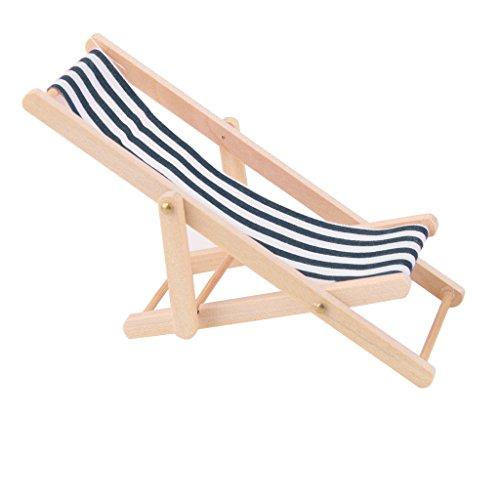1:12 Puppen Haus Miniatur Liegestuhl Strand Urlaub Stuhl Zubehör Blau