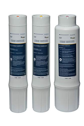 Whirlpool WHEMBF Purifier Water Fits WHAMBS5 & WHEMB40 Filtration Systems   Extra Long Life   Easy to Replace UltraEase Filter Cartridges   1 Set, Single Unit, White