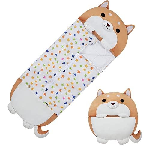 Blivener Weicher, gemütlicher Tierschlafsack für Kinder, mit Cartoon-Motiv, für alle Jahreszeiten, warmer Schlafsack mit Kissen, 137 x 51 cm