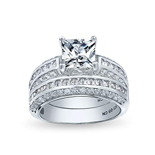 3CT Art Deco Style Square Princess Cut Solitaire AAA CZ Pave Band Engagement Wedding Ring Set 925 Sterling Silver