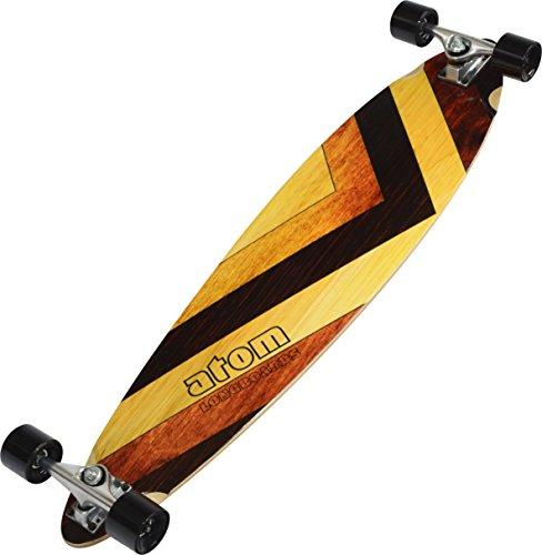 MBS 400130 Atom Pin-Tail Drop Deck 39 Inch Longboard Cruisers Skateboard, Woody Design