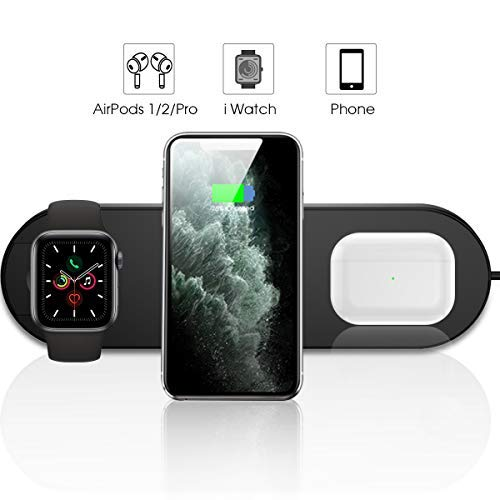 LECHLY Kabelloses ladegerät 3 in 1 ladestation Wireless Charger Ultra-Thin Qi Charging Pad für iPhone 11/Pro Max/XS/XR/X/8, Airpods,für Apple Watch 5/4/3/2 und andere Qi-fähige Telefone (Schwarz)