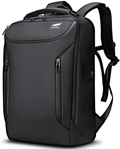 LONGZHI ビジネスリュック メンズ 防水 USB充電コードバイパス付き(ブラック)