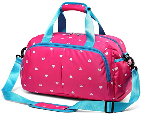 Durable Girls Overnight Duffle Bag for Weekend Travel Little Kids Women Holdall Airplane Underseat Carry On Luggage Small Carryon Duffel for Weekender Overnighter Travel Nylon Polyester (Hot Pink)