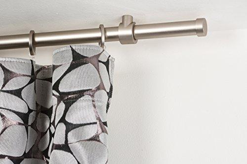 InCasa - Bastone per Tenda, 20 mm, Lunghezza 140 cm, in Acciaio Satinato, Colore: Grigio