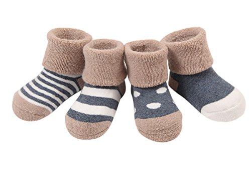 Happy Cherry Vintage Baby Mädchen 4 Paar Socken Set Weich Baumwolle Süß und Lieblich Gepunkt Gestreift 0-36 Monate (Dunkelblau - Verdickt für Winter, 6-12 Monate)