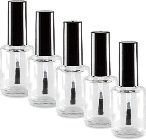 5 Stück Nagellackflasche leer 15ml klar (NF-18) mit Deckel schwarz und Pinsel