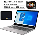 Lenovo Ideapad S145 Laptop, 15.6' Full HD Screen, AMD Ryzen 3 3200U Processor up to 3.5GHz, 20GB DDR4 RAM, 256GB SSD + 1TB HDD, HDMI, Wireless-AC, Bluetooth, Windows 10 Home, Grey, KKE Mousepad Bundle