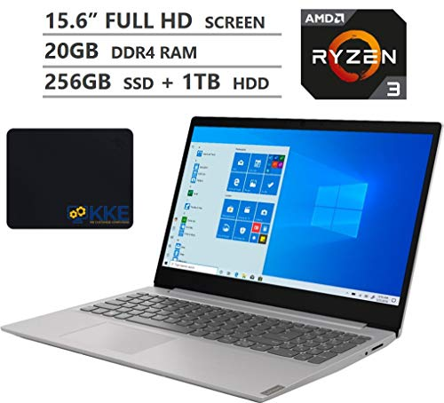 "Lenovo Ideapad S145 Laptop, 15.6"" Full HD Screen, AMD Ryzen 3 3200U Processor up to 3.5GHz, 20GB DDR4 RAM, 256GB SSD + 1TB HDD, HDMI, Wireless-AC, Bluetooth, Windows 10 Home, Grey, KKE Mousepad Bundle"