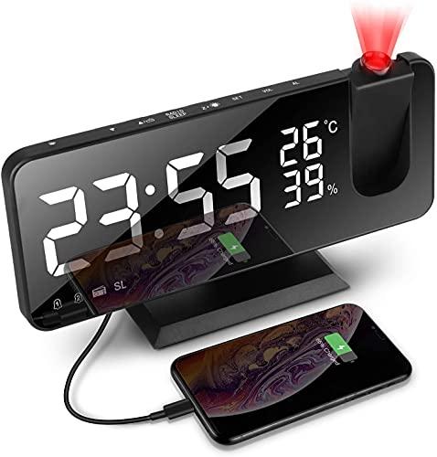 Sveglia Digitale da Comodino ,Sveglia Proiettore con Fm Radio , 4 Livelli Luminosità,Schermo LED da 18,8cm, 180° di Rotazione con Temperatura Umidità e Uscita USB Ricarica (Nero)