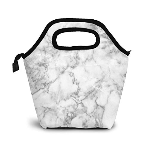 Gray Marble Texture Insulated Lunch Portable Carry Tote Picnic Storage Bag Black And White Lunch Box Food Bag Gourmet Handbag Cooler Warm Pouch Tote Bag For Work Office
