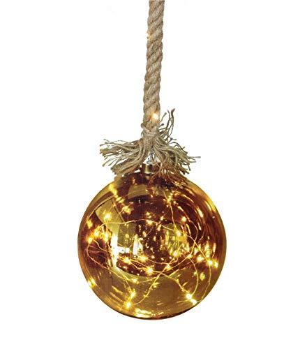 LED Glaskugel Ø 15 cm auf 1m Seil - mit 24 warmweißen LED + Timer/Batterie betrieben - Deko Glas Leuchtkugel Kugel hängend