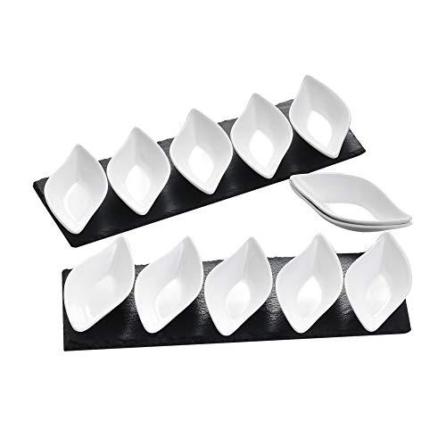 MALACASA, Serie Nature.Slate, 4X Schieferplatte mit 24x Dessert Schälchen, 28er / Set, Schiefer Platten Dessert Porzellan Schäle für Snack Vorspeise Appetizer