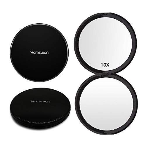 HAMSWAN Kompakta speglar med ficka, handhållen spegel 1x/10X förstoring bärbar hopfällbar dubbelsidig spegel 100 mm upplyst spegel för födelsedag