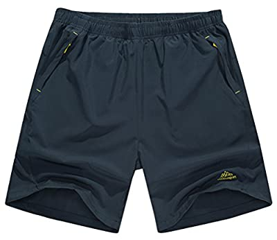 Singbring Men's Outdoor Active Quick Dry Hiking Shorts Zipper Pockets Small Gray326