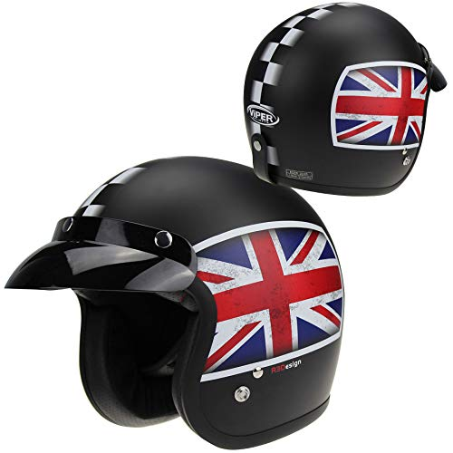 Viper RS05 Union Jack Motorradhelm Offenes Gesicht Männer Frauen Retro Offener Jethelm Touren Absturzsicherung (2XL (63-64 CM))
