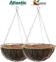 Khoji Hanging Basket Planter Metal with Coconut Coir Liner Wire Plant Holder with Garden Decorations for Porch Pots Hanger Home Garden Decoration Indoor Outdoor Watering Plant Flower Set of 2 Baskets