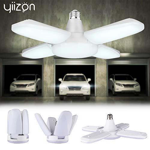 YIIZON LED Garagenleuchten, E27 6500K 48W 4000LM verstellbare Garagenlicht für Garage, Lager, Werkstatt, Keller, Turnhalle, Küche 1er-pack