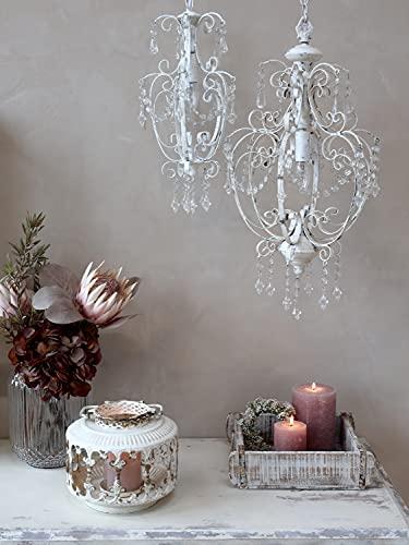 Chic Antique Lampada a sospensione lampadario lampadario bianco realizzato a mano Shabby rustico nostalgico