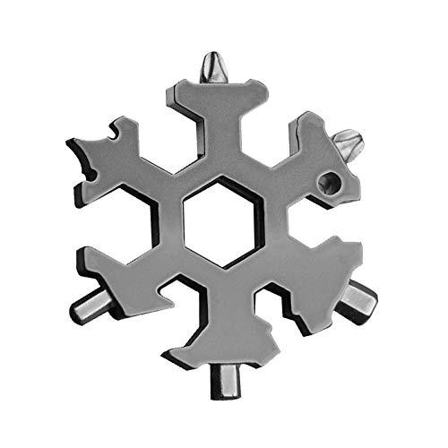 18 in 1 Snowflake Multitool Stainless Steel Snowflake Multi Tool Snowflake Tool Card Compact Snowflake Tool Snowflake Keychain Snowflake Bottle Opener Grey