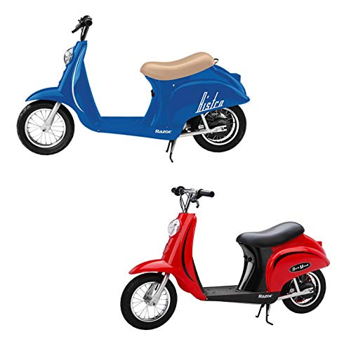 Razor Pocket Mod Miniature Euro 24V 250W Toy Electric Motor Scooter, Red & Blue (2-Pack) - Speeds up to 15 MPH