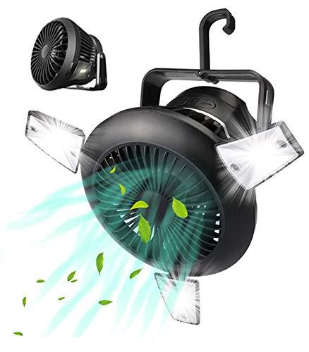 Ventilatore da campeggio con luci a LED, ventilatore solare da campeggio, con gancio e ventola, 2 in 1, ricaricabile USB, portatile, per casa, ufficio, tenda, auto, interruzioni di emergenza (nero)