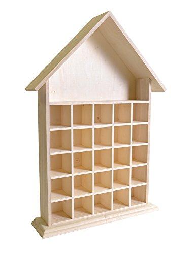 Artemio 14002020 Calendrier de l'Avent en Bois à décorer Maison ouverte-33.2cm x 49.5cm x 8.2cm, 33,2 x 8,2 x 49,5 cm