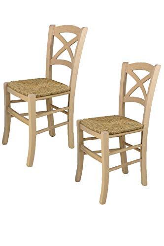 Tommychairs - Set 2 sillas Cross para Cocina y Comedor, Estructura en Madera de Haya lijada, no tratada, 100% Natural y Asiento en Paja