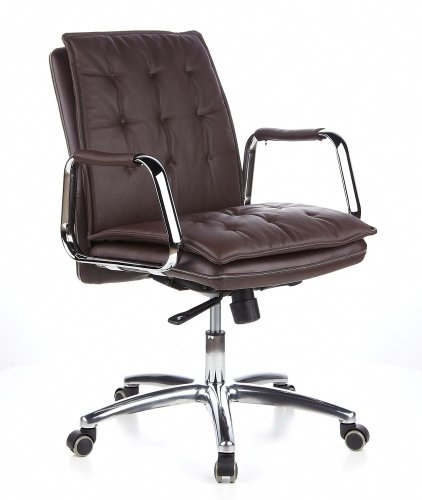 hjh OFFICE 600934 Chefsessel VILLA 10 Leder Braun/Chrom hochwertiger Bürostuhl, mittelhohe Rückenlehne